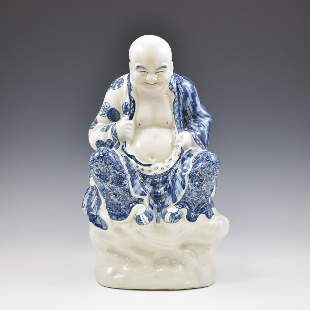 BLUE UNDERGLAZE PORCELAIN SEATED BUDDHA