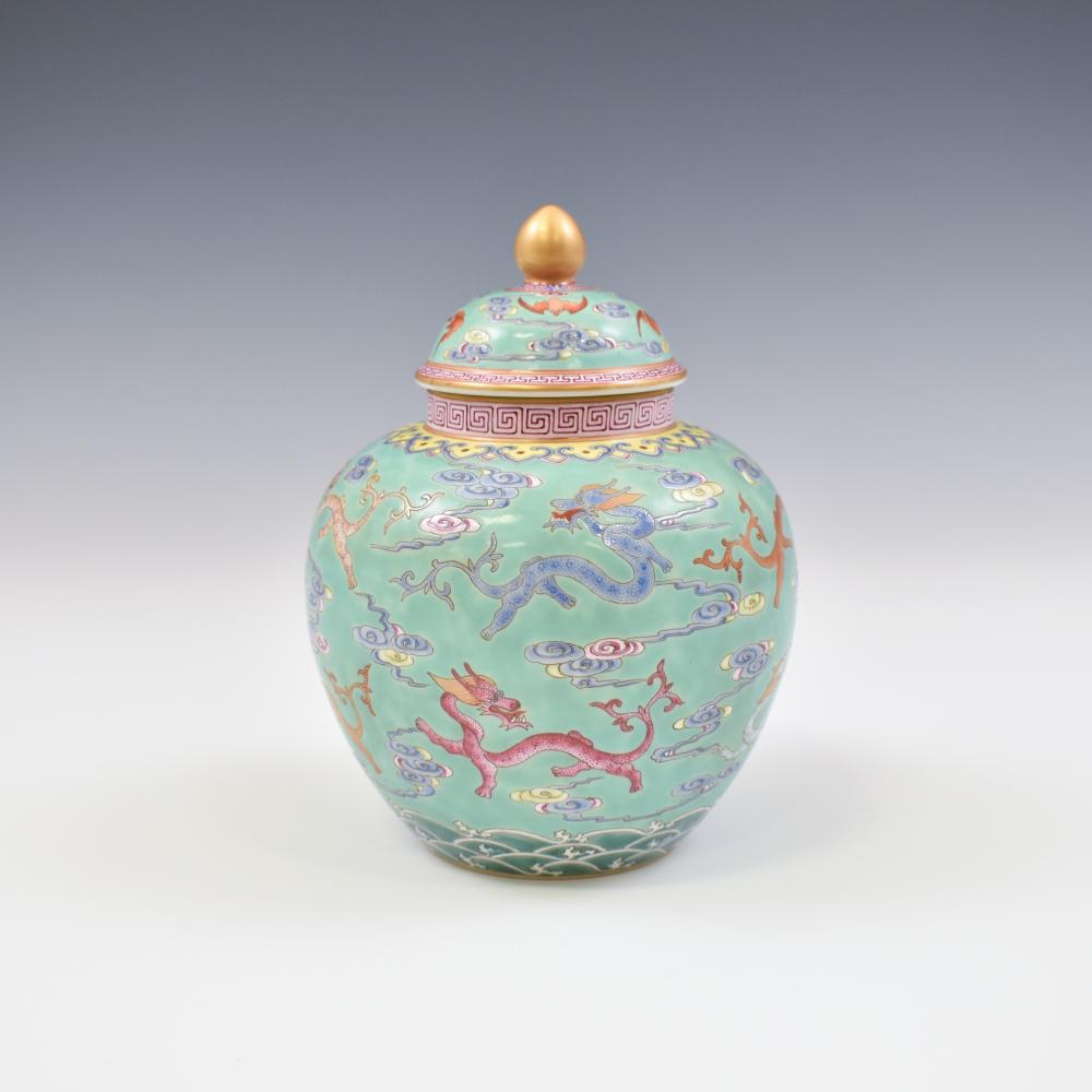 QIANLONG FAMILLE ROSE & GILT DRAGON LIDDED JAR