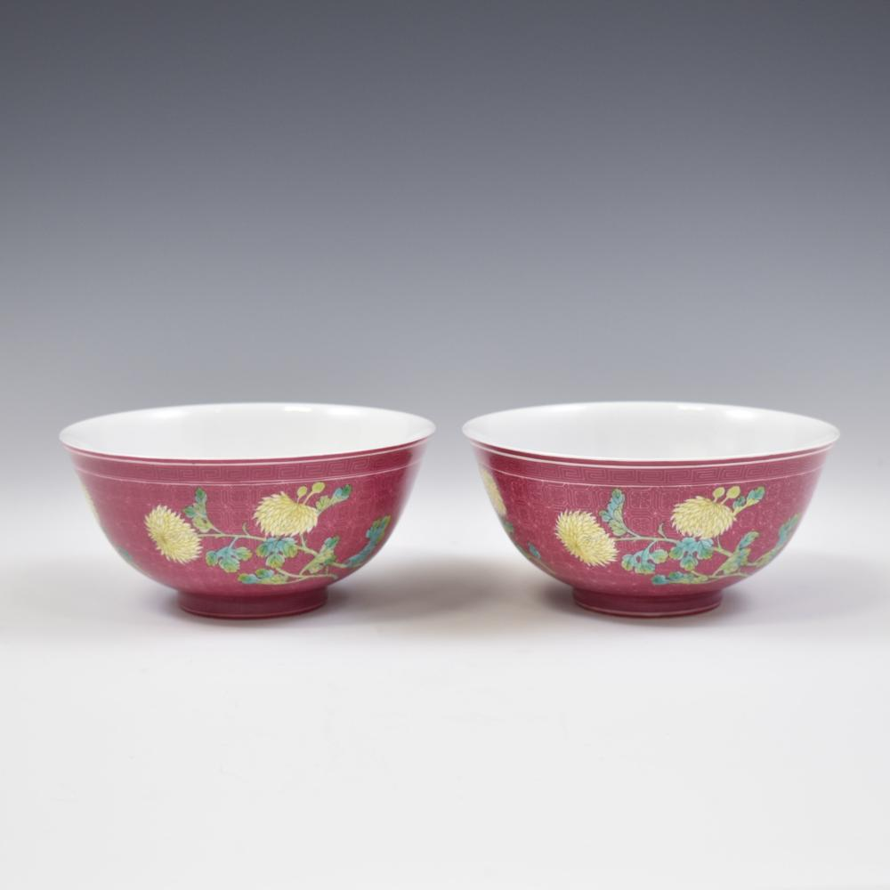 PAIR OF CHRYSANTHEMUMN SGRAFITTO PURPLE GROUND BOWLS