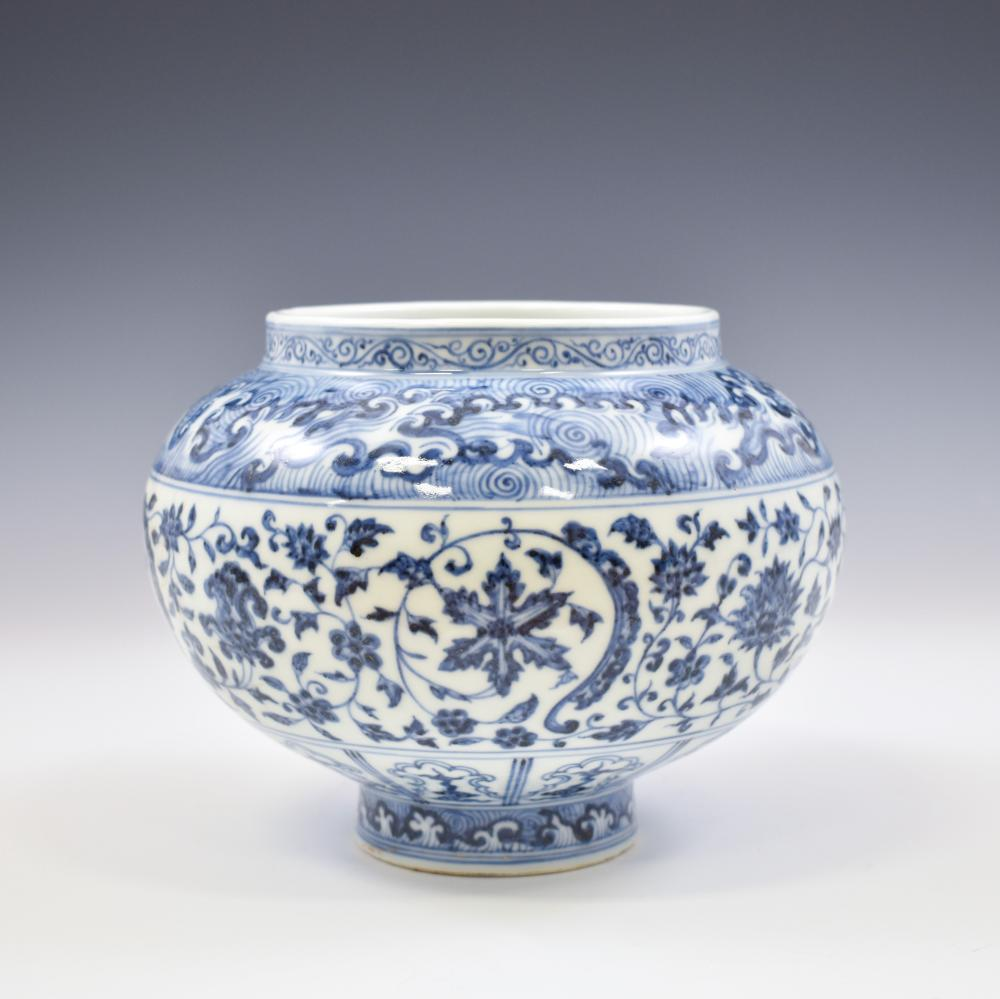 MING BLUE & WHITE WRAPPED FLORAL JAR