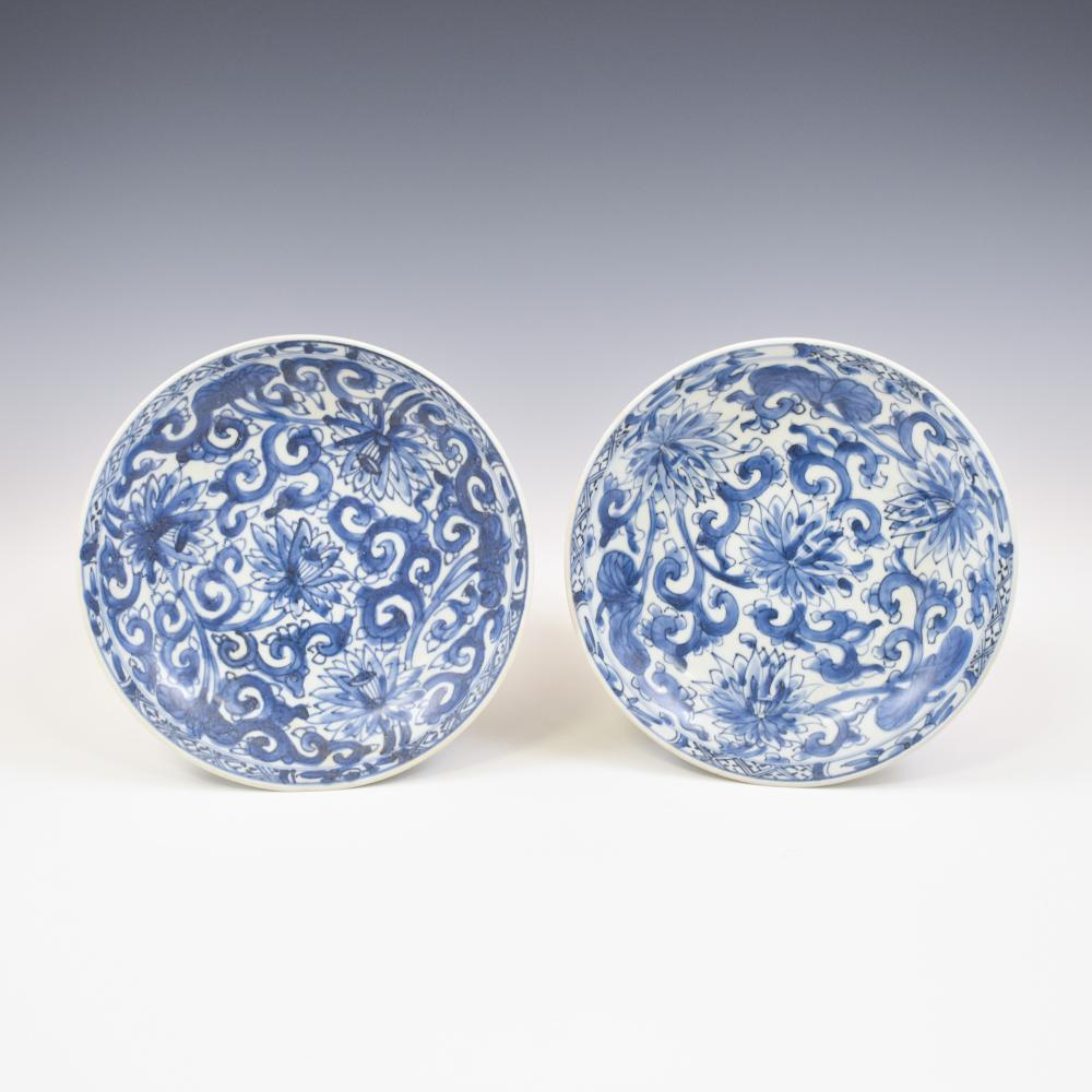 PAIR KANGXI BLUE & WHITE PLATES