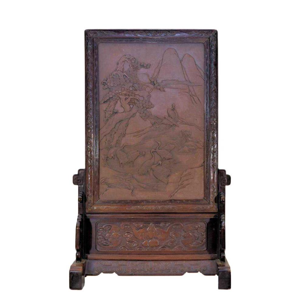 HUNDREDS CRANES RELIEF CARVED STONE TABLE SCREEN