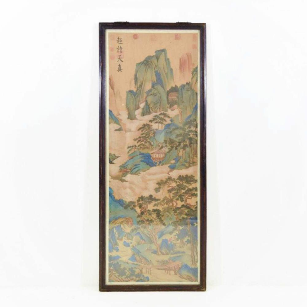 FRAMED CHINESE LANDSCAPE PAINTING