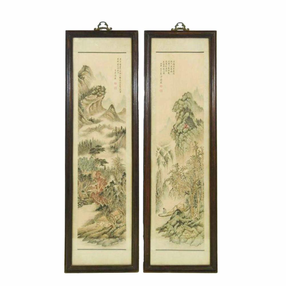 PAIR OF FRAMED CHINESE LANDSCAPE PAINTING