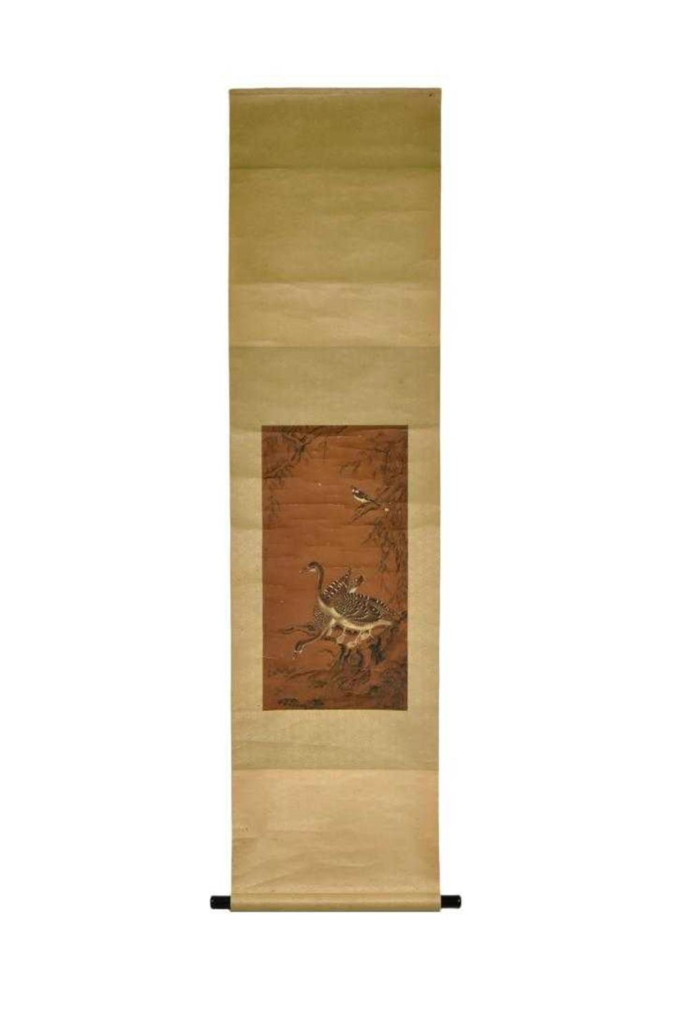QING CHINESE SILK PAINTING SCROLL OF DUCKS & BIRD