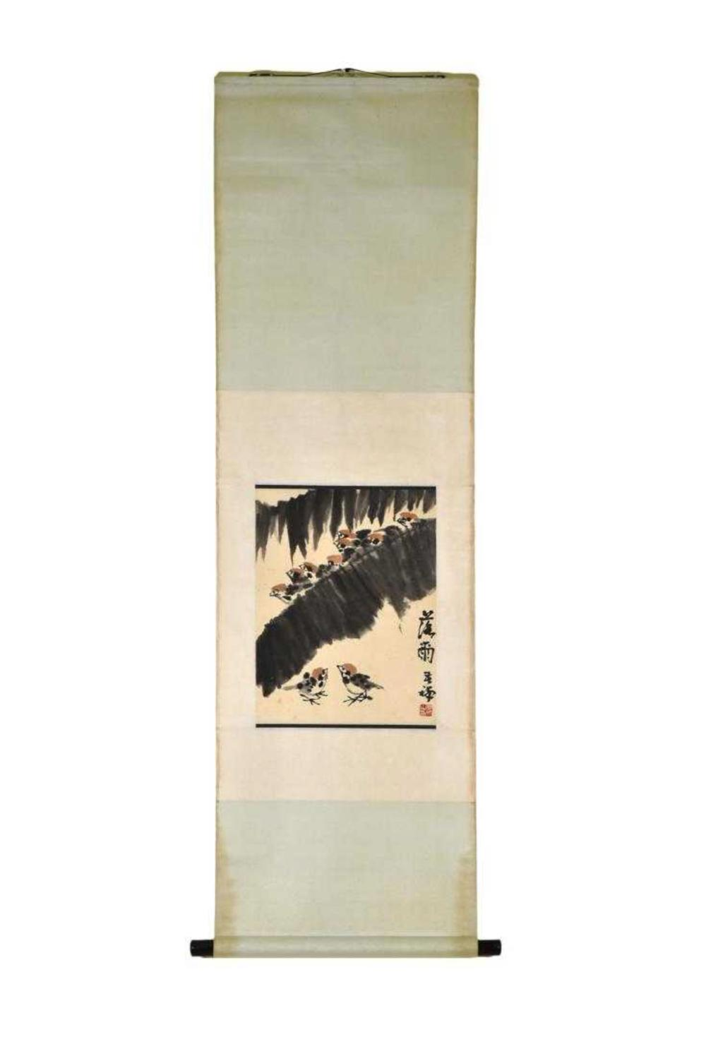CHINESE PAINTING SCROLL OF BIRD & TROPICAL LEAFS