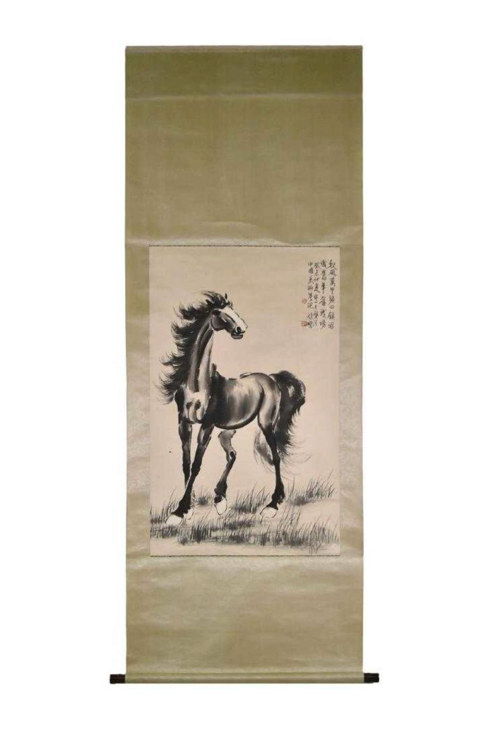 CHINESE PAINTING SCROLL OF HORSE