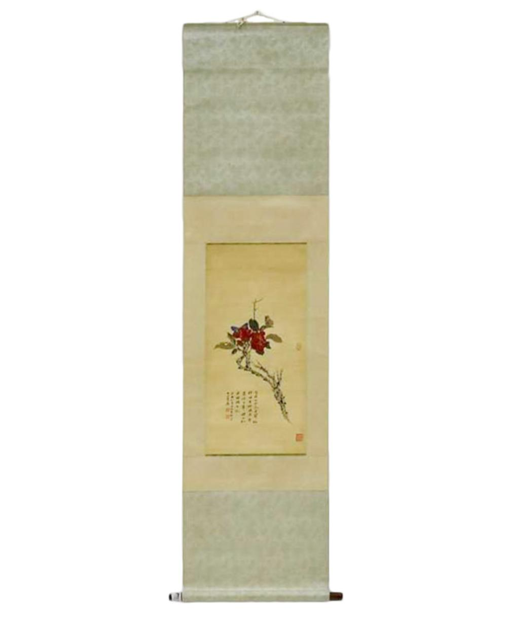CHINESE PAINTING SCROLL OF FLOWER BLOOM