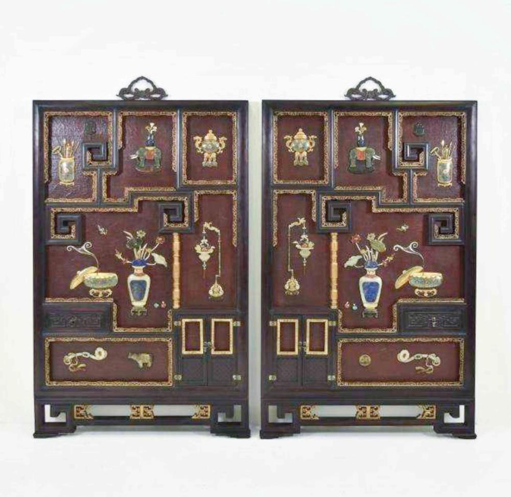 PAIR CLOISONNE & STONES INLAID LACQUERED WALL PLAQUES