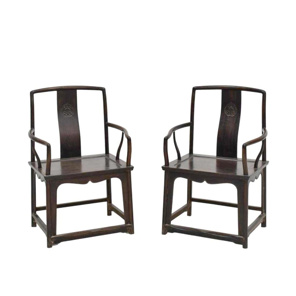 PAIR OF ZITAN SOUTHERN OFFICER ARM CHAIRS