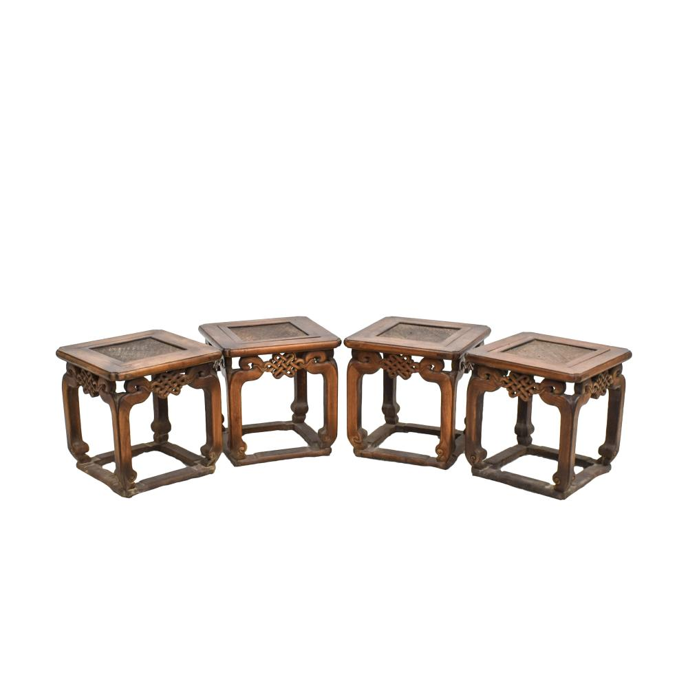 SET OF 4PCS OF CHINESE HUANGHUALI SQUARE STOOLS