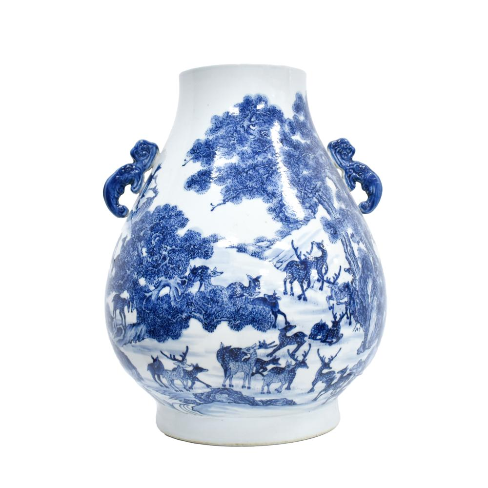 LARGE BLUE & WHITE HUNDRED DEER PORCELAIN VASE
