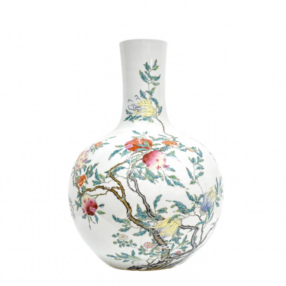 LARGE CHINESE FAMILLE ROSE POMEGRANATE CELESTIAL VASE
