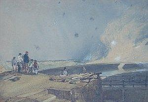 William Roxby Beverly (c.1811-1889) A storm, sea breaking over the outward pier, at Scarborough, figures sheltered by the high cliff watercolour,