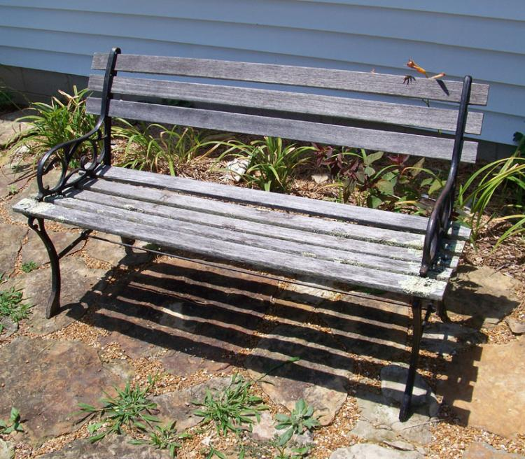 Iron and wood garden bench - Wood and iron garden bench ...