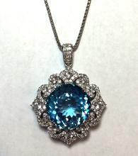 App.10,388 39.56ctw Blue Topaz w/ 3.83ctw Colorless Sapphire Necklace