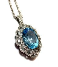 App.2,700 23.83ct Blue Topaz w/2.48ct White Sapphires Necklace