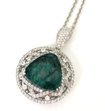 App. 4,180 28.65ct Emerald w/ 5.21ct White Sapphire's Pendant