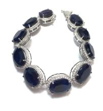 App. $9,920 109.77ct Blue Sapphire w/5.12ct white sapphire sterling Bracelet