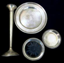 Lot of Sterling Silver Items. Tray, Vase etc..