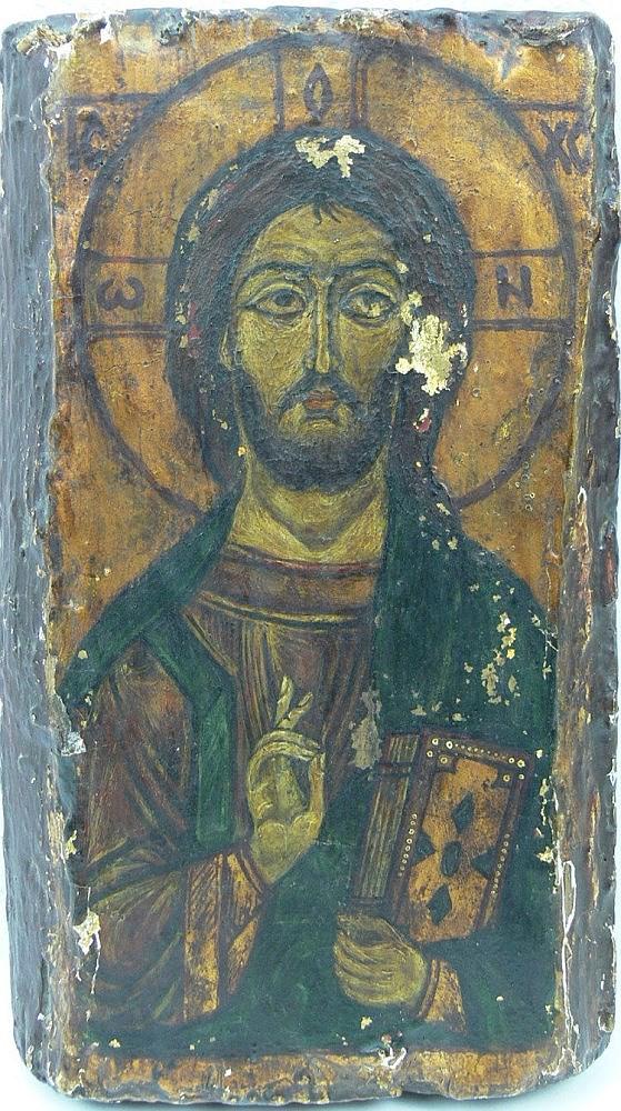 1 alte Ikone aus altem Holz, mit Farbverlusten, älteres Stüc