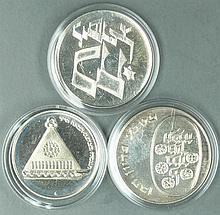 Israel 1975-76, three 25 Lirot - Silver Coins: 1975