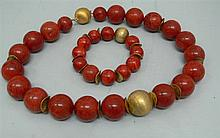 Chain & bracelet large coral ball