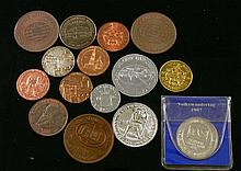 Lot of 15 medals about banks