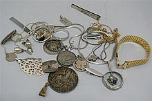 Lot silver jewelry & coins