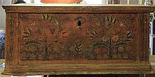 old wedding chest made ??of wood, with floral decoration