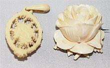 2 parts ivory jewelry, pendants and brooch