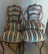 4 old upholstered chairs in the Baroque style with traces