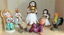 Ceramic figures, with 2 original Bozner Angels