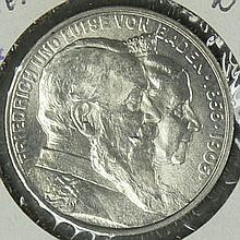 German Empire Baden 1906 G, 2.- Mark - silver coin