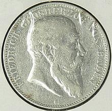 German Empire Baden 1903 G, 5.- Mark - silver coin
