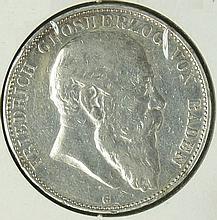 German Empire Baden 1904 G, 5.- Mark - silver coin