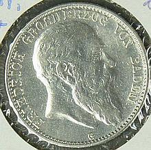 German Empire Baden 1905 G, 2.- Mark - silver coin