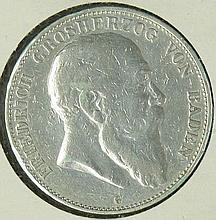 German Empire Baden 1902 G, 5.- Mark - silver coin