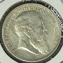 German Empire Baden 1904 G, 2.- Mark - silver coin