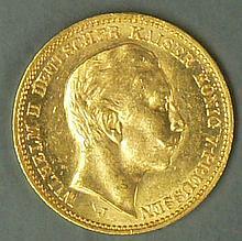 German Empire 1912 J, 20.- Mark - gold coin