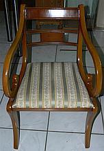 Biedermeier chair, padded laquered wood