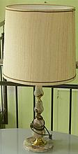 Floor lamp with base in marble - Design. Fabric shade.