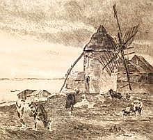 Bossert, Otto Richard (1874 Heidelberg - 1919 Leipzig) Radierung. Uferlandschaft mit Muehle u. Vieh. R. u. in Blei sign. 34,2 x 34,7 cm (58)