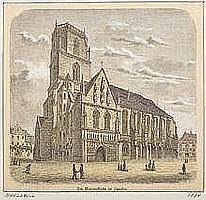 """Die Marienkirche in Zwickau """"Holzstich, koloriert."""