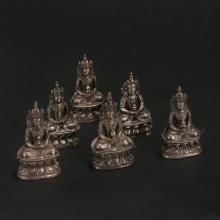 GROUP OF CHINESE SILVER BUDDHIST FIGURES