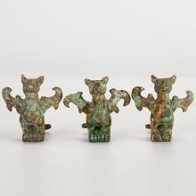 GROUP OF 3 CHINESE GILT BRONZE MYTHICAL CREATURES