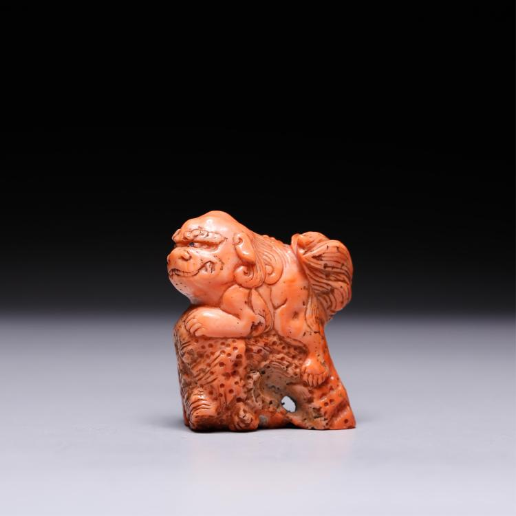 CHINESE CORAL FIGURE OF BEAST
