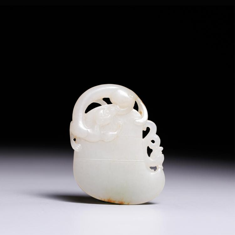 CHINESE WHITE JADE DRAGON AXE PENDANT