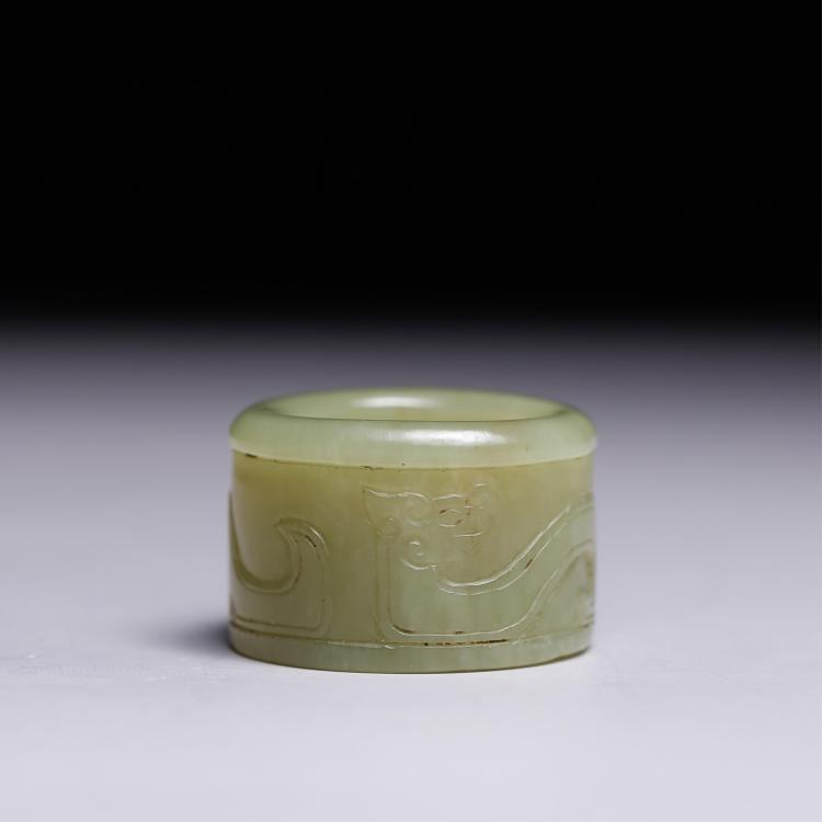 CHINESE YELLOW JADE CARVED CHILONG THUMB RING