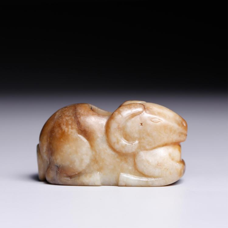 CHINESE JADE CARVED FIGURE OF RAM
